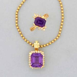 14k gold amethyst and diamond jewelry 20th c emerald cut amethyst approx 8 cts and diamond border approx 50 ct on enhancer bail to beadlink chain 36 rectangular amethyst and diamond ring