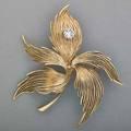 14k gold diamond leaf brooch ca 1950 14k yg leaf brooch with a prong set omc diamond dewdrop approx 12 ct 85 dwt 2 x 2
