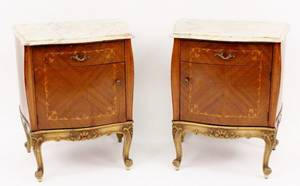 Pair of Italian Marble Top Commodes