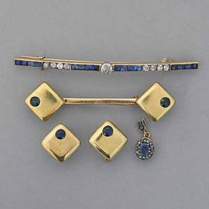 Collection of gold jewelry with sapphire 14k gold arch bar pin with oec and transitional cut diamonds and calibrated sapphires in 14k platinumtopped gold diamonds approx 50 ct tw sapphires appr