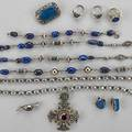 Jewelry with lapis sodalite labradorite or glass twelve pieces 19201940 14k wg filigree lapis ring size 5 34 peruzzi sodalite sterling brooch silver clip earrings two silver link necklaces