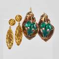 Two pairs yellow gold earrings hollowformed 14k yg and enameled sterling leaf motif earrings ca 1860 as found 18k yg pendant earrings in the art nouveau style marked france lm 58 dwt