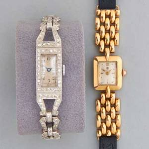 Two ladies wristwatches 19301945 platinum and diamond tank watch with diamond fancy lugs quartz replacement movement twistoflex strap 18k yg rectangular with gold bricklink lugs election