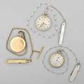 Three pocket watches on chains with knives hamilton wg filled of model 912 17 jewels adj 3460690 waltham 14k yg double hunt case royal model 7850930 gf chain and gold cased knife south