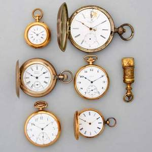 Six old pocket watches and a fob swiss 14k gold hunt case with engine turned and engraved decorations 35 mm hinge broken swiss 14k gold of pin set metal cuvette elgin gf of 24342643 ame