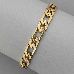 14k yellow gold link bracelet large link bracelet with safety chain marked 14k 213 dwt 7