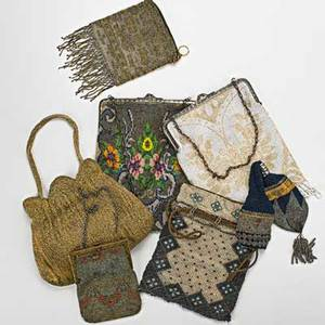 Seven beaded evening bags 18901940 includes caviar beads cut steel glass largest 9 x 7 damages and losses noted