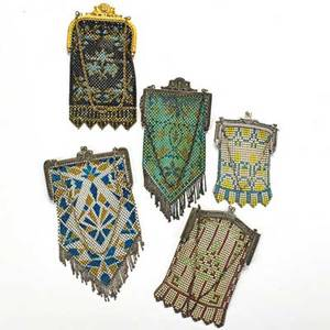 Five polychrome enameled mesh bags ca 1920 makers include mendelian longest pouch 8 beyond fringe