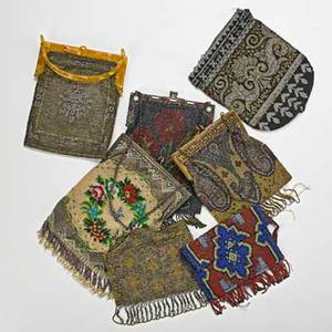Seven caviar beaded evening bags 18901920 geometric and floral motifs gilt metal and celluloid frames longest 9 beyond fringe losses and oxidation