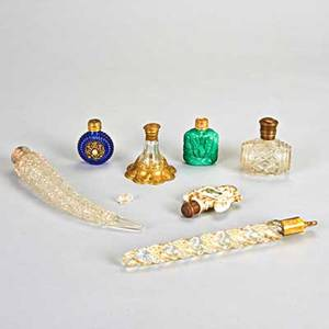 Seven perfume bottles perfume bottle group including five victorian bottles ca 1900s crystal glass and porcelain capped with silver or brass and two modern bottles from the czech republic larg