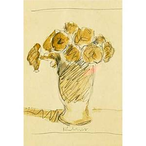 Robert moore kulicke american 19242007 three works of art untitled pear 1977 oil on paper framed signed and dated 8 x 6 sight untitled flowers in vase 1968 graphite and brown in