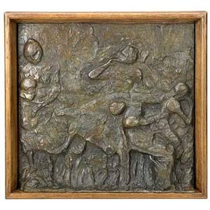 Edgar degas french 18341917 cueillette des pommes bronze relief cast in 1998 inscribed degas dated numbered 37d with foundry stamp cire perdue c valsuani 18 14 x 19 38 provenance