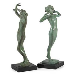Emil fuchs american 18661929 two works of art dawn bronze on stone base signed emil  fuchs with foundry stamp gorham co founders  ofxl 12 34 high without base lazy bronze on gran