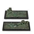 Emil fuchs american 18661929 two works of art the reader bronze on stone base signed   emil fuchs 3 x 12 12 x 5 without base reclining nude woman with mirror 1910s bronze on