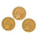Us 2 12 gold coins three 1929 1911 and 1908 all ef 40