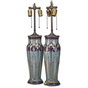 Royal doulton art nouveau porcelain vases pair in baluster form with irises mounted as lamps early 20th c signed vases 14 34
