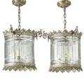 Pair of regency style hanging lights silvered gilt metal frame with cut crystal frames electrified 20th c 14 x 14