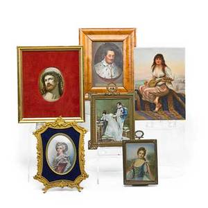 European miniature paintings six late 19thearly 20th c two german paintings one on porcelain the other on tin two french paintings on ivory and small oval portrait on porcelain of christ larg