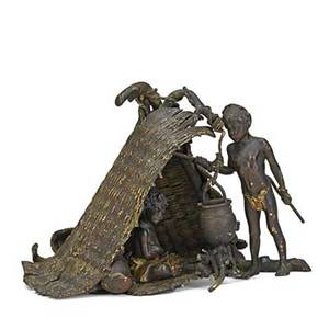 Vienna coldpainted figural bronze native africans around a cooking pot with thatched hut early 20th c signed bergman 4 12 x 6 x 7