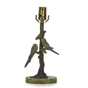 Vienna coldpainted bronze parakeets perched in a tree on onyx base mounted as a lamp early 20th c 12 12