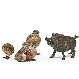 Vienna coldpainted bronze animals three birds and a boar with polychrome decoration early 20th c three marked tallest 4 12