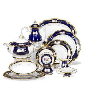 Reichenbach porcelain dinner service thirtysix pieces in the echt kobalt pattern include 10 9 12 luncheon plates 7 twohandled consomme cups 8 saucers teapot creamer sugar covered se