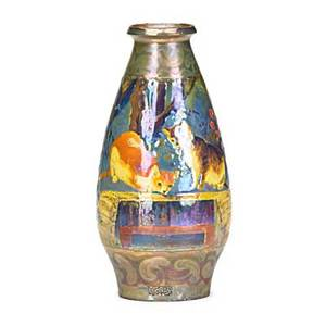 Bacs art pottery vase iridescent glaze with enameled floral display and kittens early 20th c stamped bacs 6 38