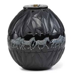 Lalique glass vase tanzania in black glass with zebras in relief mounted as a lamp 20th c script signature lalique france 1985 8 14