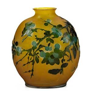 Galle cameo glass vase acidetched with fruiting trees ca 1900 signed galle 7 12 x 6 14