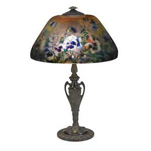 Reverse painted table lamp chipped ice shade with violet decoration 20th c 24 12 x 15 dia