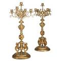 Pair of french dore bronze candelabra figural base ca 1900 23 12