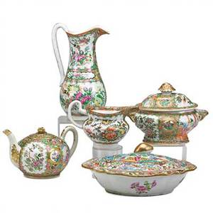 Chinese rose medallion porcelain five items 19th c teapot sauce tureen creamer pitcher and covered dish pitcher 10