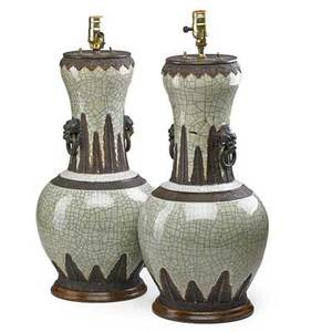 Pair of chinese crackleware porcelain urns bronze mounts and foo dog handles mounted as lamps 20th c urns 21