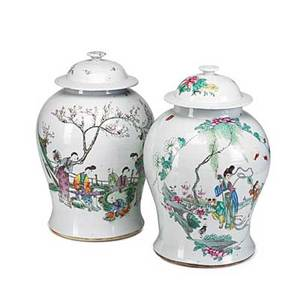 Pair of chinese porcelain ginger jars famille rose decoration with calligraphy inscription on reverse 19th c 15
