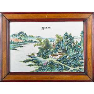 Chinese porcelain plaque landscape scene with calligraphy framed 20th c 10 12 x 15 12