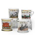 Occupational shaving mugs four early 20th c two railroad related and two machinery related two marked limoges tallest 3 58