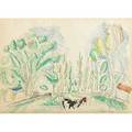 Raoul dufy french 18771953 watercolor and pencil on paper landscape with cows signed 10 x 13