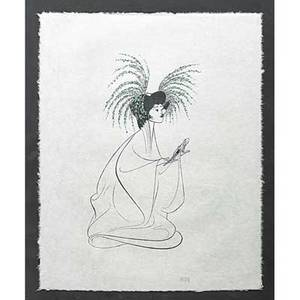 Albert hirschfeld american 19032003 lithograph in colors madame butterfly framed signed and numbered 25 14 x 20 14 sheet