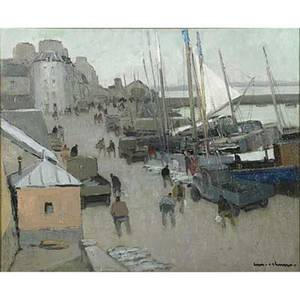 Henry maurice cahours french 18891974 oil on canvas harbor scene framed signed 23 x 28