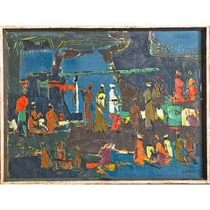 Walter battiss south african 19061982 oil on canvas abstract painting of figures framed signed 12 x 16