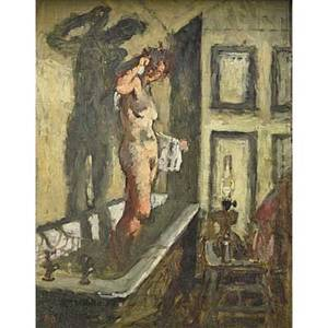 Bernard dunstan british b 1920 oil on board of a woman bathing framed initialed 16 34 x 13