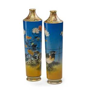Japanese satsuma vases pair with butterfly and bird decoration on blue ground early 20th c signed 9 78