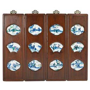 Chinese porcelain screen fourpanel hardwood frame with inset porcelain plaques of various shapes early 20th c each panel 48 12 x 15 14