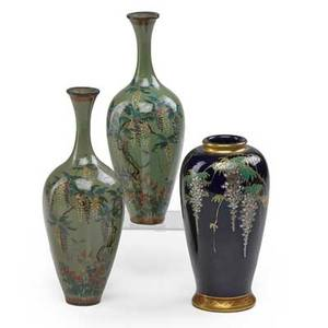 Pair of japanese kyoto cloisonne vases fine floral and vine decoration together with a similar enamel painted cloisonne porcelain vase early 20th c tallest 6