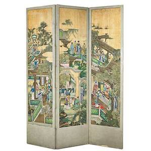 Asian screen three wallpapered panels 20th c 78 x 63