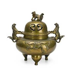 Chinese bronze incense burner animal head handles foo dog finial 18th19th c chien lung mark 11 x 12