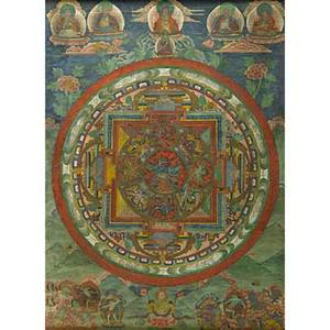Tibetan thangka painting on paper buddhist deities surrounding a circular central medallion 19th c framed 27 x 20 sight