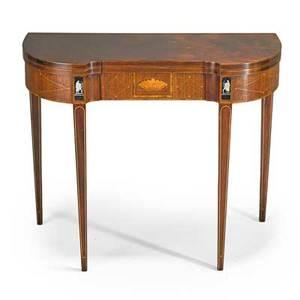 Baker fliptop card table mahogany with inlay 20th c 29 12 x 36 14 x 17 34