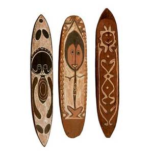 New guinea gope boards three carved wood and natural pigments mid 20th c tallest 44