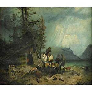 19th c hunting scene oil on canvas of a landscape with hunters dogs and deer 1893 framed signed a cullerty and dated 20 x 24